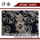 Junma black and golden flower pattern flocked jacquard african velvet lace fabric