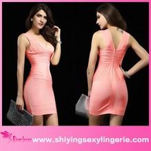 High Quality Fashion Pink V-neck wholesale bandage dress Sexy Dress