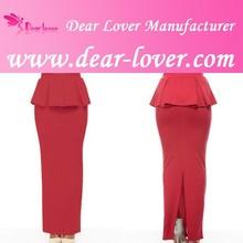 Ladies Red Peplum Maxi Office Wear Skirt