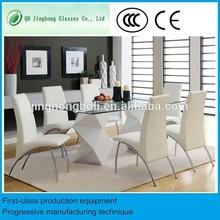 Billige esszimmer floatglas top-konferenz Tisch und 6 Stühle