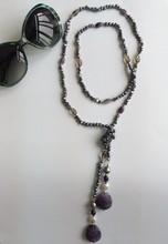 black purple pearl necklace jewelry description