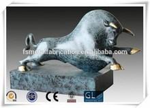Indoor Decorative Colored Bronze Animal Bull Sculpture