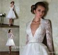 2014 nova coleção sexy laço curto vestidos de noiva bola vestido de gola v manga longa