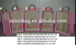 YIWU factory sales natual JUTE 6 Bottle Wine Tote Bags