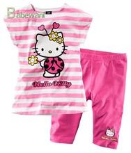2015 New Summer Kids clothes Girls striped Cartoon cat T-shirt + pants teen girls clothing