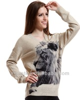 2014 winter anti static lion print ladies straight shoulder cashmere acrylic pullover sweater