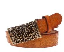 Women carving slim Genuine leather belt wholesale