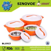Family set 4pcs in one sale stainless steel & plastic stackable insulated casserole hot pot set