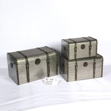 antique aluminum skin storage boxes in set of three