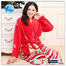 100% Polyester Fleece Fabric Printed Women Flannel Wholesale Bathrobe