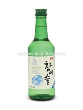 360ml glass Soju green glass bottle with aluminum cap