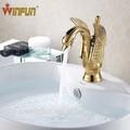 New Swan projetado bacia de bronze do ouro da torneira única alavanca banheiro torneiras torneiras e misturadores