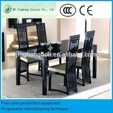 Furniture black laminate glass top space saving dining table
