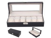 European style Watch storage box, 6 slots black pu leather watch case