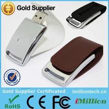 Custom leather usb flash drive/white leather usb