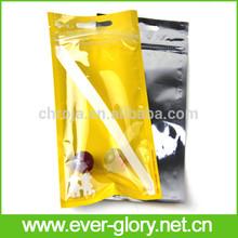 Gloss water barrier food safe flexibl half transparent plastic pack zipper bags