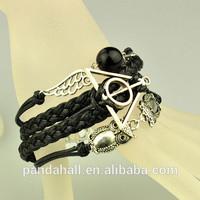 Wing Owl Deathly Hollows Links Braided Cord Bracelets(BJEW-JB00902-01)