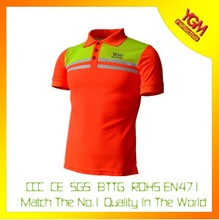 orange high visibility t shirt with polo collar