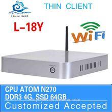 N270 cpu fan desktop motherboard mini computer l-18y 4g ram 64g ssd build-in-wifi support win7 linux windows XP