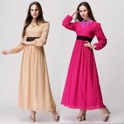 Muslim Maxi Dress 2015 New ladies loose Muslim dress Long Sleeve Abaya Islamic clothing Long Dress Malaysia Muslim clothing