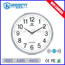 Besnt digital p2p hidden camera wall clock wifi function, remote control clock mini camera BS-734