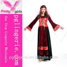 National carnival dancing dress red corset vest cap and veil