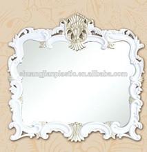 "SJ-9186-1 16.7""x22.2"" white rectangle plastic hanging mirror bath"