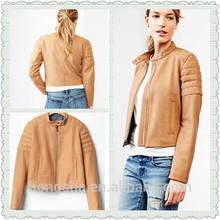 On Alibaba.com 2014 Women Quilted Wool Biker Jacket Windproof Long Check Sleve Jacket For Women HSJ8122
