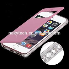 View flip leather case + diamond metal bumper case for samsung s4 s5 Luxury case