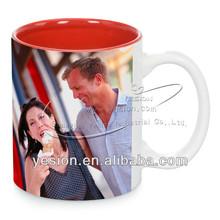 Yesion Directly Factory High Quality Ceramic 11oz Mug/Cup Inside Color sublimation mug/handle color mug