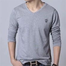 custom wholesale mens long sleeve t shirt v neck,solid color sexy v-neck mens underwear