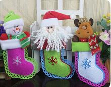 Hot selling new style christmas hanging decorated felt xmas stocking decoration for sale
