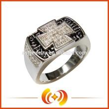 Custom Fashion Man Jewelry Cross Shape Silver Finger Ring Wholesale