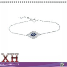 Dark Blue Enamel Evil Eye Zirconia Sterling Silver Bracelet