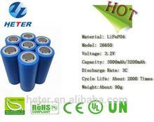 LiFePO4 -26650-3000mAh-3.3V