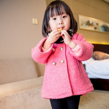 MS60598C wholesale girl fashion cotton cheap winter back bow woolen girl coats