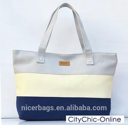 2014 New Womens Multi Colored Canvas Shoulder Bag / Beach Bag stripes