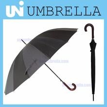 Black Straight 16K Auto Open Umbrella Curved Wooden Handle Steel Frame FRP Ribs Umbrella with Magic Strape