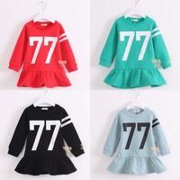 Z83579C 2014 winter korean sport thicken velvet kids girl dresses