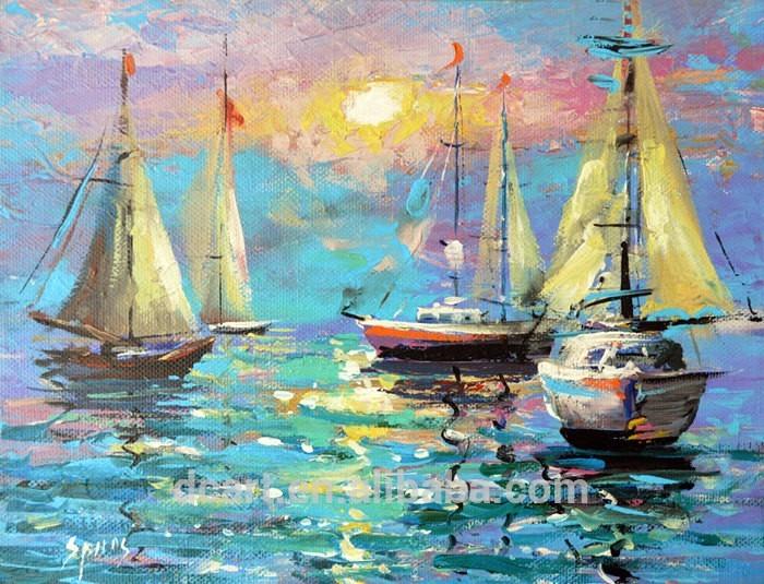 Sea Knife Boat Sea Scape Impressionism Knife