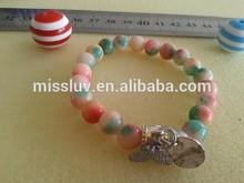 colorful beaded wing charm bracelet elastic cluster beaded bracelet jewelry