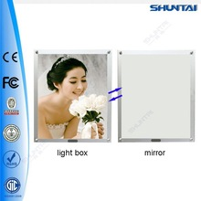 Wall mounted magic acylic panel mirror light poster frame