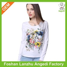 100% cotton dye sublimation printing both on front and back long sleeve t shirt