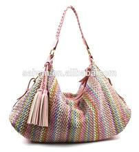 2015 good sale fashion colorful braided straw bag for woman. beach designer handbag, lady handbag guangzhou market