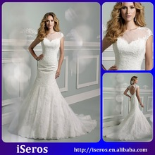 Free Shipping Scoop Transparent Cap Sleeve Open Back Applique Lace Romantic Mermaid Designer Fit Women Wedding Dresses 2015
