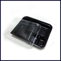Take out PS plastic 5 compartment bento box with transparent lid food container