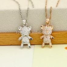 Lovely bear steriling silver pendant for lovely baby with white Zircon