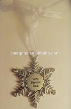 Christmas Gifts Snowflake Shaped Customized Logo Black Enamel Hanging Ornament