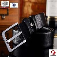 black full grain genuine leather men uniform stainless steel buckle belt