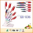 As seen on TV Soft grip handle 5pcs titanium coated kitchen knife set